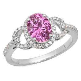 1.45 Carat (ctw) 14K White Gold Oval Cut Pink Sapphire & Round Cut White Diamond Ladies Bridal Halo Style Engagement Ring 1 1/2 CT