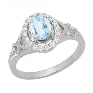 1.25 Carat (ctw) 18K White Gold Oval Cut Aquamarine & Round Cut White Diamond Ladies Bridal Split Shank Halo Engagement Ring 1 1/4 CT