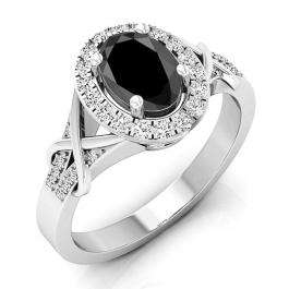 1.25 Carat (ctw) 18K White Gold Oval Cut Black Sapphire & Round Cut White Diamond Ladies Bridal Split Shank Halo Engagement Ring 1 1/4 CT