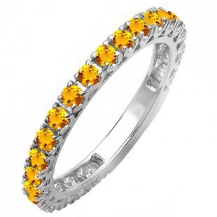 0.85 Carat (ctw) 14K White Gold Round Orange Citrine Eternity Sizeable Stackable Ring Anniversary Wedding Band 3/4 CT