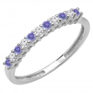 0.33 Carat (ctw) 10K White Gold Round Tanzanite & White Diamond Anniversary Stackable Wedding Band 1/3 CT