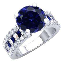 5.80 Carat (ctw) 14K White Gold Round & baguette Blue & White Cubic Zirconia CZ Classic Solitaire with Accents Bridal Engagement Ring