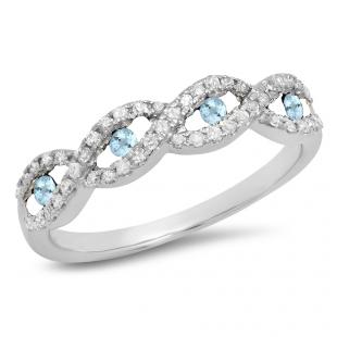 0.28 Carat (ctw) 10K White Gold Round Aquamarine & White Diamond Ladies Bridal Stackable Anniversary Wedding Band Swirl Ring 1/4 CT