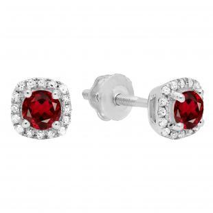 0.45 Carat (ctw) 14K White Gold Round Cut Garnet & White Diamond Ladies Halo Style Stud Earrings 1/2 CT