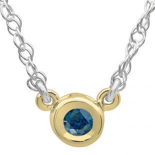 0.33 Carat (ctw) 14K Yellow Gold Round Blue Diamond Ladies Bezel Set Solitaire Pendant 1/3 CT