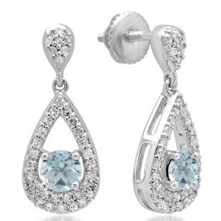 1.50 Carat (ctw) 14K White Gold Round Cut Aquamarine & White Diamond Ladies Dangling Drop Earrings 1 1/2 CT