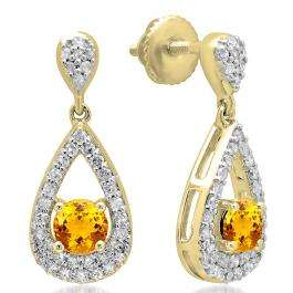 1.50 Carat (ctw) 14K Yellow Gold Round Cut Citrine & White Diamond Ladies Dangling Drop Earrings 1 1/2 CT