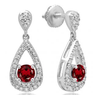 1.50 Carat (ctw) 14K White Gold Round Cut Garnet & White Diamond Ladies Dangling Drop Earrings 1 1/2 CT