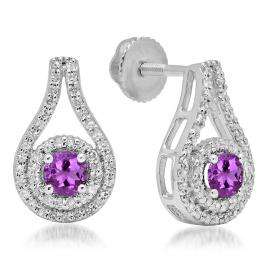 1.10 Carat (ctw) 18K White Gold Round Cut Amethyst & White Diamond Ladies Halo Style Drop Earrings 1 CT