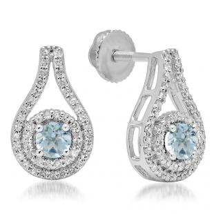 1.10 Carat (ctw) 18K White Gold Round Cut Aquamarine & White Diamond Ladies Halo Style Drop Earrings 1 CT