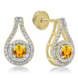 1.10 Carat (ctw) 18K Yellow Gold Round Cut Citrine & White Diamond Ladies Halo Style Drop Earrings 1 CT