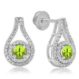1.10 Carat (ctw) 18K White Gold Round Cut Peridot & White Diamond Ladies Halo Style Drop Earrings 1 CT