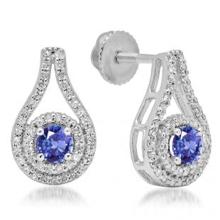 1.10 Carat (ctw) 18K White Gold Round Cut Tanzanite & White Diamond Ladies Halo Style Drop Earrings 1 CT