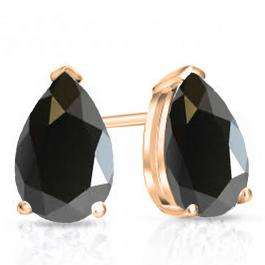 1.00 Carat (ctw) 14K Rose Gold Pear Cut Black Sapphire Ladies Solitaire Stud Earrings 1 CT