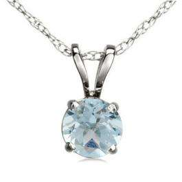 1.50 Carat (ctw) Sterling Silver Round Cut Aquamarine Ladies Solitaire Pendant (Chain Included) 1 1/2 CT