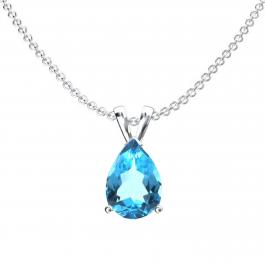 1.00 Carat (ctw) Sterling Silver Pear Cut Blue topaz Ladies Solitaire Pendant (Chain Included) 1 CT