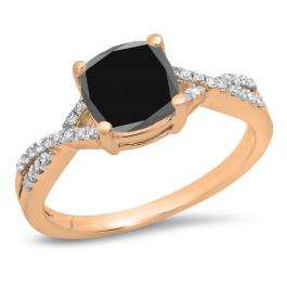 1.45 Carat (ctw) 14K Rose Gold Cushion Cut Black Sapphire & Round White Diamond Ladies Swirl Split Shank Bridal Engagement Ring 1 1/2 CT