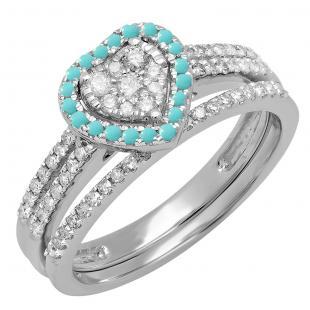 0.50 Carat (ctw) 10K White Gold Round Cut Turquoise & White Diamond Ladies Split Shank Heart Shaped Bridal Engagement Ring With Matching Band Set 1/2 CT