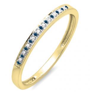 0.10 Carat (ctw) 18K Yellow Gold Round Blue & White Diamond Ring Wedding Anniversary Stackable Band 1/10 CT