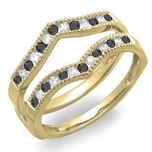 0.48 Carat (ctw) 18K Yellow Gold Round White & Black Diamond Ladies Millgrain Anniversary Wedding Band Guard Double Ring 1/2 CT