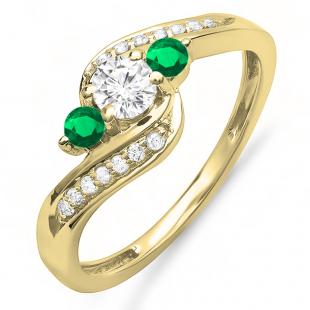 0.80 Carat (ctw) 10K Yellow Gold Round Tsavorite & White Diamond Ladies Swirl 3 Stone Bridal Engagement Ring 3/4 CT
