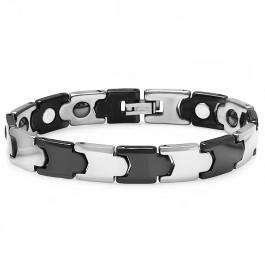 Tungsten Carbide Two Tone Black & White Plated Magnetic Therapy Bio Healing Mens Link Bracelet (10.5 MM Width x 7 Inch Length)