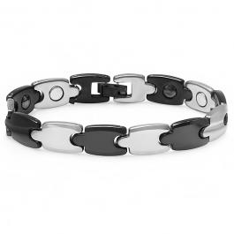 Tungsten Carbide Two Tone Black & White Plated Magnetic Therapy Bio Healing Mens Link Bracelet (10 MM Width x 7.5 Inch Length)