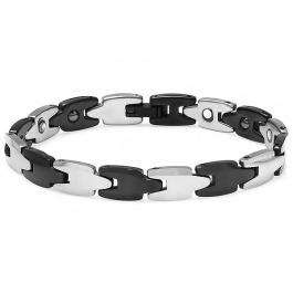 Tungsten Carbide Two Tone Black & White Plated Magnetic Therapy Bio Healing Mens Link Bracelet (8 MM Width x 7 Inch Length)