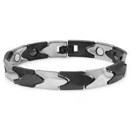 Tungsten Carbide Two Tone Black & White Plated Magnetic Therapy Bio Healing Mens Link Bracelet (10 MM Width x 7.75 Inch Length)