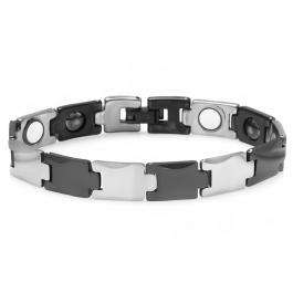 Tungsten Carbide Two Tone Black & White Plated Magnetic Therapy Bio Healing Mens Link Bracelet (12 MM Width x 7.25 Inch Length)