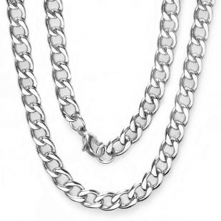 Stainless Steel Men's Platinum Plated Hip Hop Cuban Chain (7 MM Width x 36 Inch Length)
