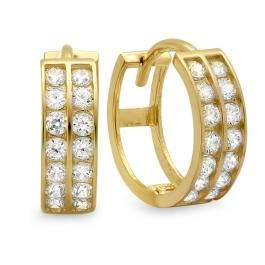 14k Yellow Gold Round Cut White Cubic Zirconia CZ Ladies Huggie Hoop Earrings (3.5 mm Width x 10 mm Length)