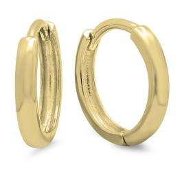 14K Yellow Gold Hoop Earrings (2 mm wide and 11 mm diameter)