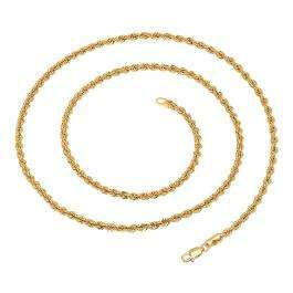 14K Yellow Gold Hollow Rope Diamond-cut chain (24 inch)