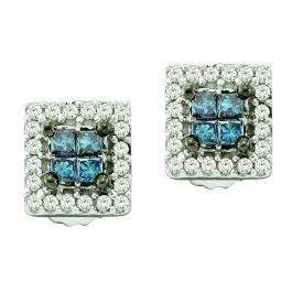 0.33 Carat (ctw) 14k White Gold Blue & White Diamond Ladies Invisible Set Stud Earrings