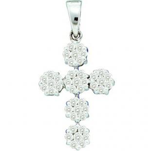 0.50 Carat (ctw) 14k White Gold Round White Diamond Ladies Cluster Flower Cross Pendant