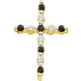 0.12 Carat (ctw) 10k Yellow Gold Black & White Diamond Ladies Cross Pendant
