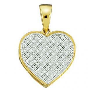 0.25 Carat (ctw) 10k Yellow Gold Brilliant White Diamond Ladies Heart Pendant