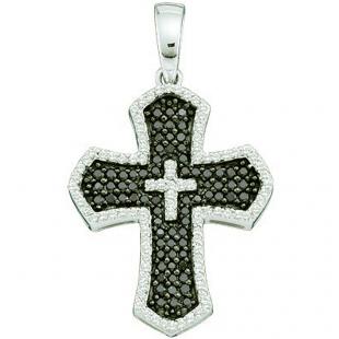 0.73 Carat (ctw) 14k White Gold Round Black & White Diamond Ladies Cross Pendant