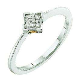 0.01 Carat (ctw) Sterling Silver Round Diamond Micro Pave Ladies Bridal Engagement Promise Ring