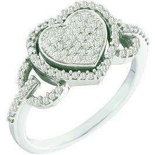 0.33 Carat (ctw) 10k White Gold Brilliant White Diamond Ladies Promise Heart Engagement Ring