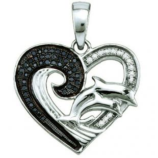 0.17 Carat (ctw) Sterling Silver Black & White Diamond Ladies Heart Pendant