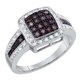 0.53 Carat (ctw) 10K White Gold Champagne & White Diamond Ladies Micro Pave Right Hand Ring 1/2 CT