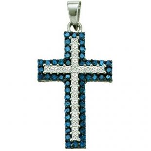 1.15 Carat (ctw) 10k White Gold Round Blue & White Diamond Ladies Micro Pave Cross Pendant