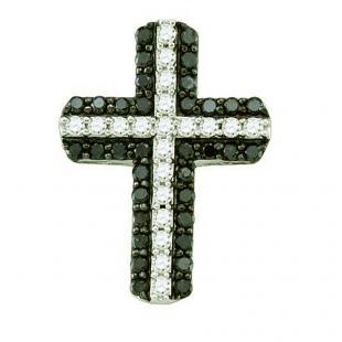 0.80 Carat (ctw) 10k White Gold Round Black & White Diamond Ladies Cross Pendant