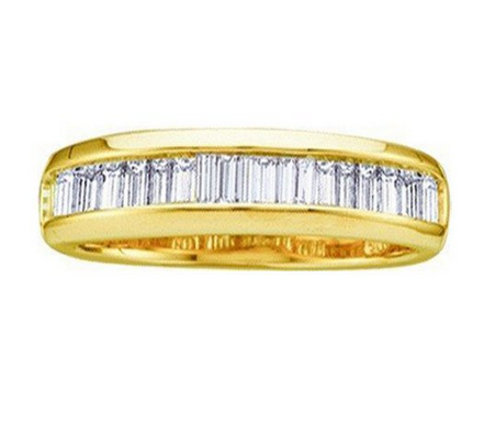 0.50 Carat (ctw) 10k Yellow Gold Baguette White Diamond Ladies Anniversary Wedding Band 1/2 CT