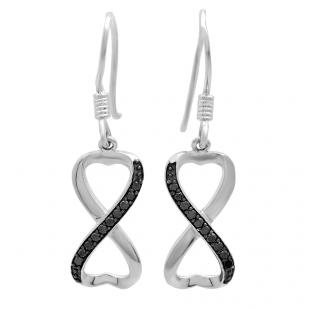 0.20 Carat (ctw) Sterling Silver Round Black Diamond Ladies Swirl Infinity Heart Shaped Dangling Earrings 1/5 CT