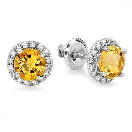 2.00 Carat (ctw) 14k White Gold Round Yellow Citrine & White Diamond Ladies Halo Style Stud Earrings 2 CT