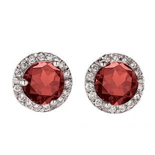 4.00 Carat (ctw) 14K White Gold Round Red Garnet & White Diamond Ladies Halo Style Stud Earrings 4 CT