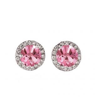 1.00 Carat (ctw) 10K White Gold Round Pink Sapphire & White Diamond Ladies Halo Style Stud Earrings 1 CT
